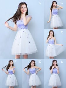 Luxurious White Vestidos de Damas Prom and Party with Appliques V-neck Sleeveless Lace Up