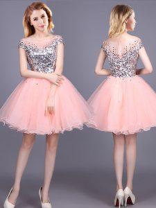 Dynamic Mini Length Pink Dama Dress for Quinceanera Tulle Short Sleeves Sequins