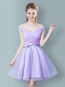 Superior Empire Dama Dress for Quinceanera Lavender V-neck Tulle Cap Sleeves Knee Length Zipper