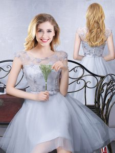 Colorful Grey Lace Up Scoop Lace and Appliques and Belt Quinceanera Dama Dress Tulle Cap Sleeves