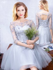 Elegant Scoop Half Sleeves Quinceanera Court of Honor Dress Knee Length Lace and Appliques and Belt Grey Tulle