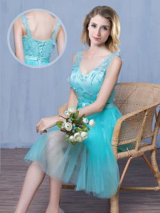 V-neck Sleeveless Tulle Vestidos de Damas Lace and Appliques and Bowknot Lace Up