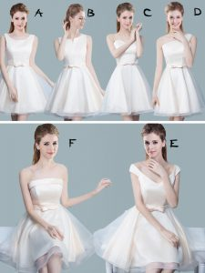Edgy White Dama Dress Prom and Party and Wedding Party with Lace and Bowknot Scoop Sleeveless Lace Up