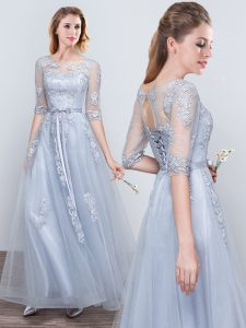 Smart Short Sleeves Grey Tulle Lace Up Scoop Half Sleeves Floor Length Quinceanera Court Dresses Appliques and Belt
