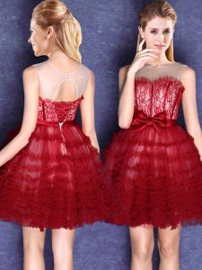 Wine Red Ball Gowns Scoop Sleeveless Tulle Mini Length Lace Up Lace and Bowknot Vestidos de Damas