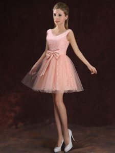 Edgy Peach Tulle and Lace Lace Up V-neck Sleeveless Mini Length Vestidos de Damas Lace and Bowknot