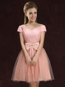 Sophisticated Peach Off The Shoulder Neckline Lace and Bowknot Quinceanera Court Dresses Short Sleeves Lace Up