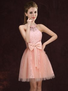 Trendy Peach A-line Tulle and Lace Halter Top Sleeveless Lace and Bowknot Mini Length Lace Up Damas Dress