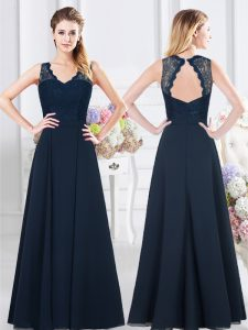 Navy Blue Empire V-neck Sleeveless Chiffon Floor Length Backless Lace and Ruching Quinceanera Dama Dress