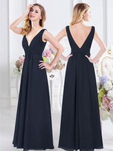 Sweet Ruching Damas Dress Navy Blue Backless Sleeveless Floor Length