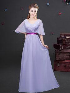 Fabulous Chiffon V-neck Half Sleeves Zipper Ruching and Belt Court Dresses for Sweet 16 in Lavender