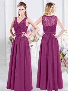Fantastic Sleeveless Chiffon Floor Length Side Zipper Quinceanera Court of Honor Dress in Fuchsia with Lace and Ruching
