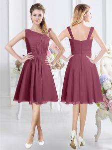Fantastic Burgundy Chiffon Zipper Quinceanera Dama Dress Sleeveless Knee Length Ruching