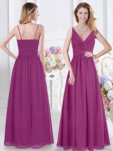 Sleeveless Chiffon Floor Length Zipper Quinceanera Dama Dress in Fuchsia with Ruching