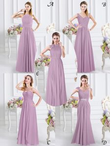 Cheap Lavender Cap Sleeves Chiffon Zipper Dama Dress for Prom and Party and Wedding Party