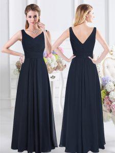 Sleeveless Chiffon Floor Length Zipper Dama Dress in Navy Blue with Ruching
