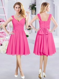 Sweet Hot Pink Damas Dress Prom and Party and Wedding Party with Ruching and Belt Straps Sleeveless Zipper