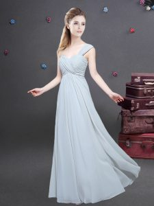 Grey Chiffon Zipper One Shoulder Sleeveless Floor Length Quinceanera Court Dresses Ruching