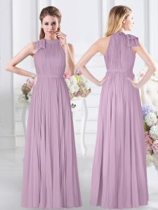 Lavender Vestidos de Damas Prom and Party and Wedding Party with Ruching High-neck Sleeveless Zipper