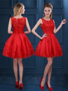 Hot Selling Scoop Red Zipper Quinceanera Dama Dress Lace and Ruffled Layers Sleeveless Mini Length
