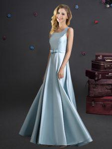 Pretty Empire Court Dresses for Sweet 16 Light Blue Square Elastic Woven Satin Sleeveless Floor Length Zipper