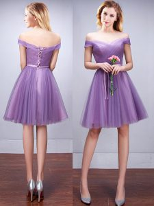 Cute Off the Shoulder Knee Length A-line Sleeveless Lavender Quinceanera Dama Dress Lace Up