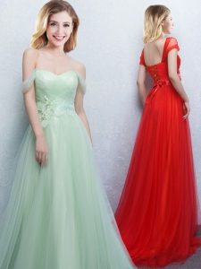 Off the Shoulder Appliques and Ruching Quinceanera Court Dresses Apple Green Lace Up Sleeveless With Brush Train