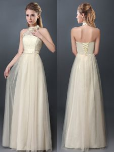 Fitting Tulle Halter Top Sleeveless Lace Up Lace and Appliques Court Dresses for Sweet 16 in Champagne