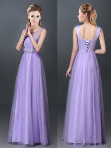 Amazing Scoop Floor Length Empire Sleeveless Lavender Dama Dress for Quinceanera Lace Up