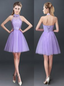 Fantastic Halter Top Sleeveless Mini Length Lace and Appliques Lace Up Quinceanera Dama Dress with Lavender