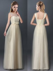 Classical Scoop Champagne Lace Up Court Dresses for Sweet 16 Lace and Hand Made Flower Sleeveless Floor Length