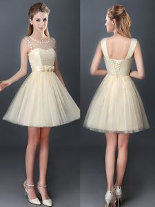 Mini Length Champagne Quinceanera Dama Dress Scoop Sleeveless Lace Up