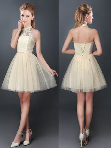 Best Selling Halter Top Champagne Sleeveless Mini Length Lace and Appliques Lace Up Quinceanera Court of Honor Dress
