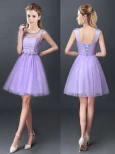 Fashionable Scoop Lavender A-line Lace Dama Dress for Quinceanera Lace Up Tulle Sleeveless Mini Length