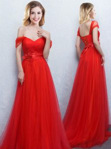 Adorable Off The Shoulder Sleeveless Tulle Court Dresses for Sweet 16 Appliques and Ruching Brush Train Lace Up