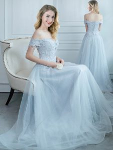 Lovely Off the Shoulder Tulle Cap Sleeves Floor Length Court Dresses for Sweet 16 and Beading and Appliques