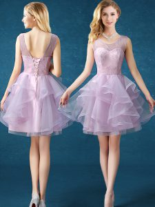 Scoop Knee Length Lavender Vestidos de Damas Organza and Tulle Sleeveless Lace