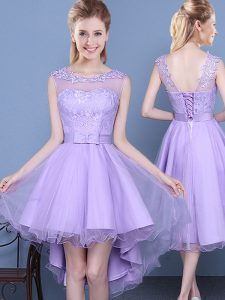 Lavender A-line Scoop Sleeveless Organza Mini Length Lace Up Lace Court Dresses for Sweet 16