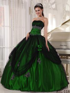 Green Strapless Tulle and Taffeta Beaded Quinceanera Dress with Appliques