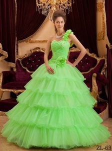 Green One Shoulder Quinceanera Dress with Ruffles and Hand Made Flower