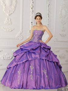 Purple Strapless Taffeta Beaded Quinceanera Dress with Embroidery on Sale