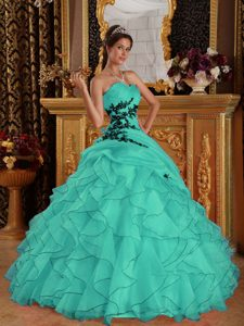 Sweetheart Organza Quinceanera Dresses with Appliques and Ruffled Layers