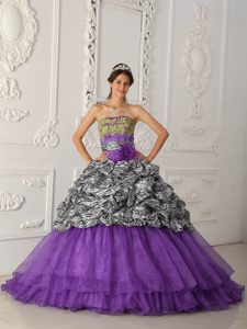 Purple Strapless Zebra and Organza Quinceanera Dresses with Chapel Train