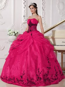 Newest Hot Pink Strapless Ball Gown Quinceanera Dress with Pick-ups and Appliques