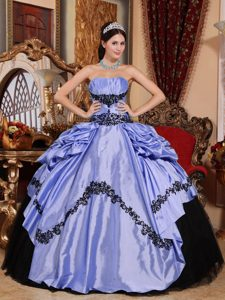 Ruched Strapless Lilac Taffeta and Black Appliqued Quinceanera Dress with Pick-ups