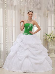 Green Taffeta and White Organza Strapless Quinceanera Dress with Appliques for Less