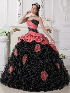Watermelon and Black Sweetheart Beaded Quinceanera Dresses with Rolling Flowers