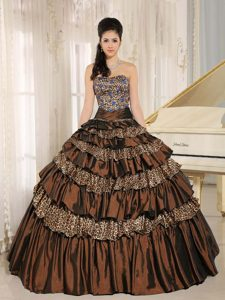 Custom Made Strapless Brown and Leopard Layered Quinceanera Dress with Appliques