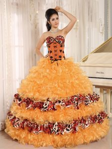 Sweetheart Ball Gown Orange Organza Quinceanera Dresses with Ruffles and Leopard
