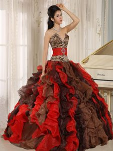 V-neck Strapless Multi-colored Organza Quinceanera Dress with Ruffles and Leopard